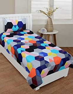 PRIDHI Super Soft Glace Cotton Single Bedsheet with 1 Pillow Cover (Fast color1) New design14