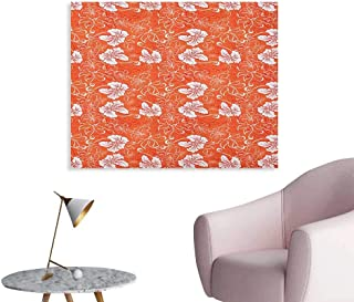 Anzhutwelve Orange Wallpaper Hawaiian Pattern with Tropical Climate Hibiscus Flowers Abstract Summer Flourish Poster Print Orange White W48 xL32