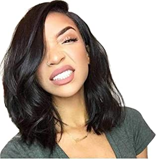 Loose Wave Full Lace Wigs Human Hair Short Bob Brazilian Human Hair Wigs with Baby Hair Natural Color Side Part 130% Density 14inch