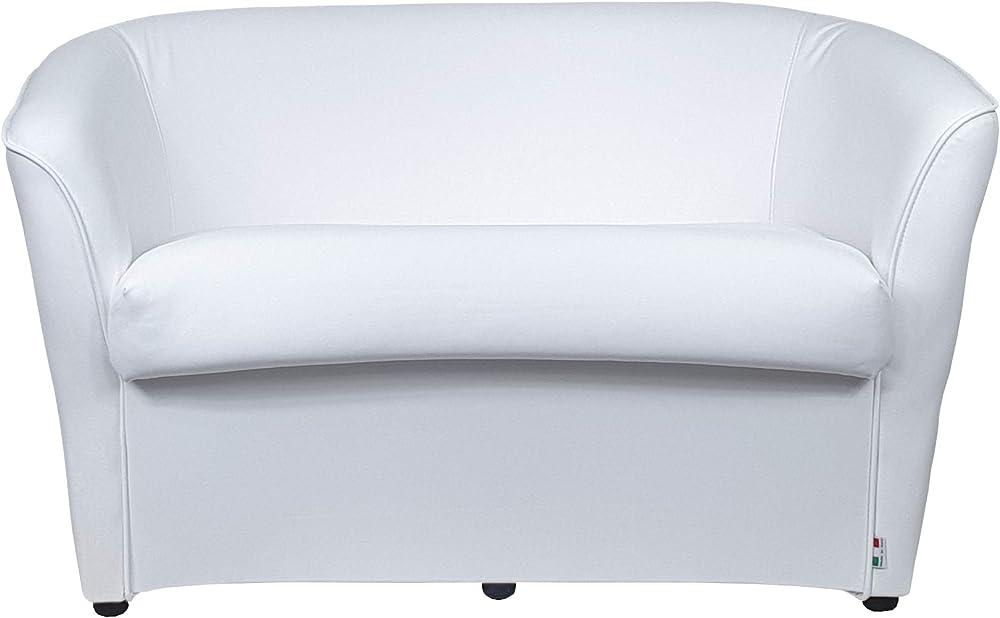 Totò piccinni divano pozzetto a 2 posti, in ecopelle, bianco, 67 x 123 x 76 cm
