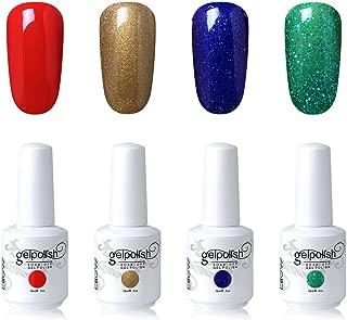 Elite99 Soak Off Gel Polish Lacquer UV LED Nail Art Manicure Kit 4 Colors Set G-C187 + Free Gift (20pcs Gel Remover Wraps)