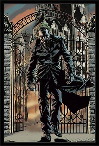 "Trends International DC Comics - The Joker - Arkham Asylum, 22.375"" x 34"", Black Framed Version"