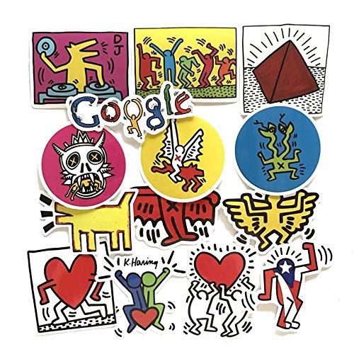 Keith Haring Google, cartoon-stickers, voor koffer, skateboard, waterdicht, 14 stuks