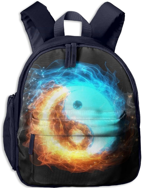 Pinta Water and Fire Yin Yang Cub Cool School Book Bag Backpacks for Girl's Boy's