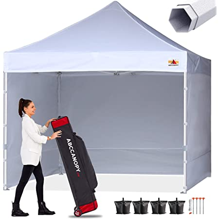 ABCCANOPY 10 X 20 Pop up Canopy Tent Commercial Instant Gazebos with 9 Removable Sides and Roller Bag and 6X Weight Bag,White