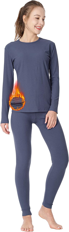 MANCYFIT Women's Thermal Underwear Stretchy Long Johns Set Ultra Soft Base Layer Blue X-Large