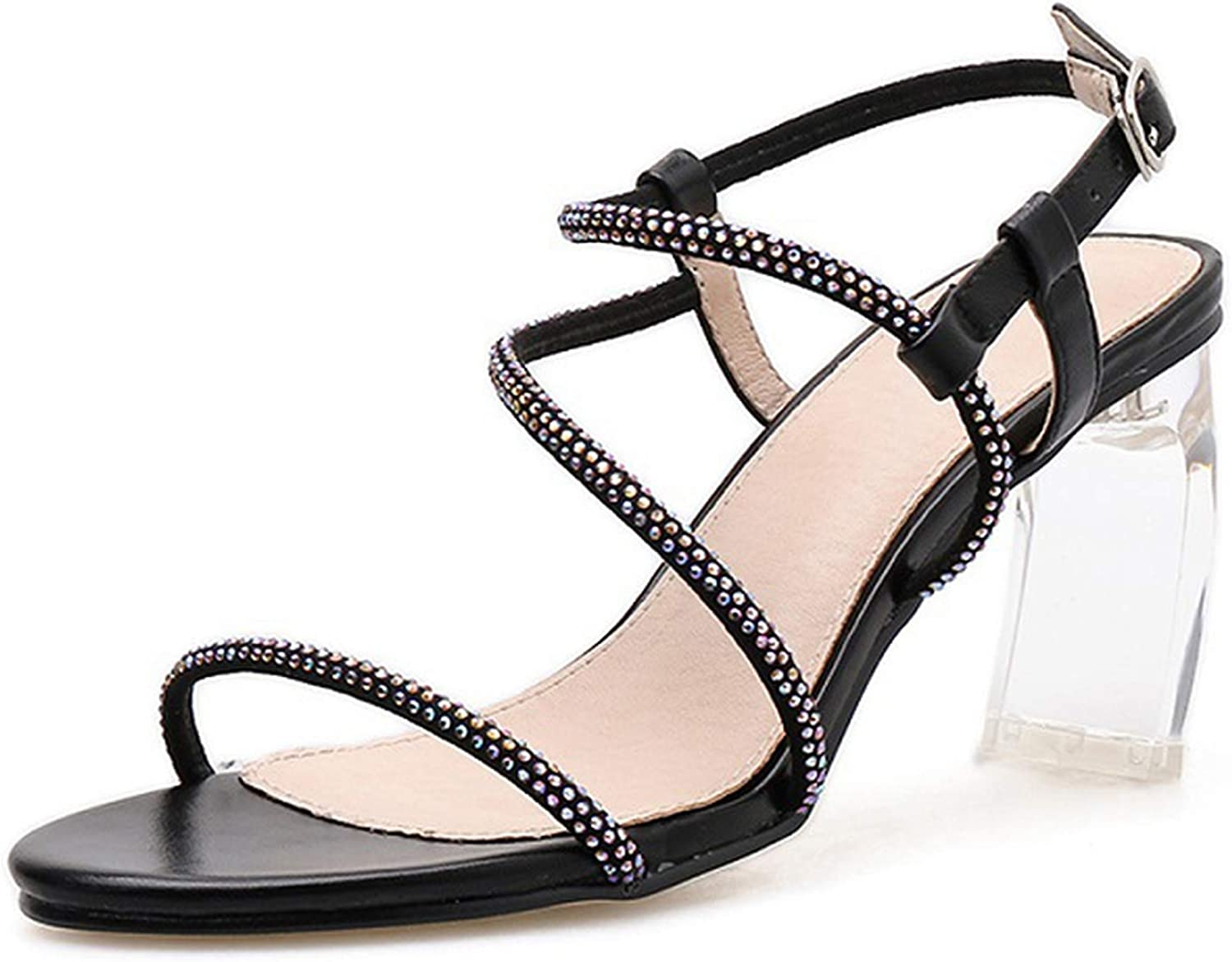 Summer Ladies Fashion Casual Word Rhinestones Open Toe Transparent Crystal with High Heel Sandals