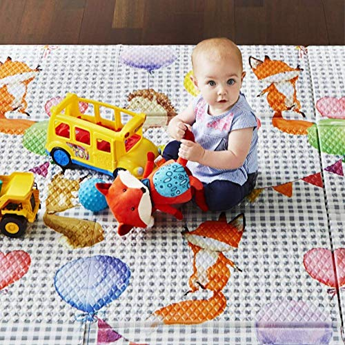 Toddleroo by North States 71' x 71' Folding Balloon Ride Play Mat - Extra Large, Designed to fit 6 Panel or 8 Panel Superyards. Foldable. Almost 36 Square feet of Play Space (Multicolored)