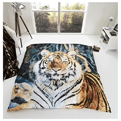 Gaveno Cavailia Super Soft Faux Fur 3D Wildlife TIGER Fleece Throw Blanket, 150 x 200 Cm, Polyester, Double, Brown/Black