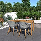 Amazonia Lisbon 5-Piece Outdoor Rectangular Dining Table Set | Teak Finish | Ideal for Patio and Indoors