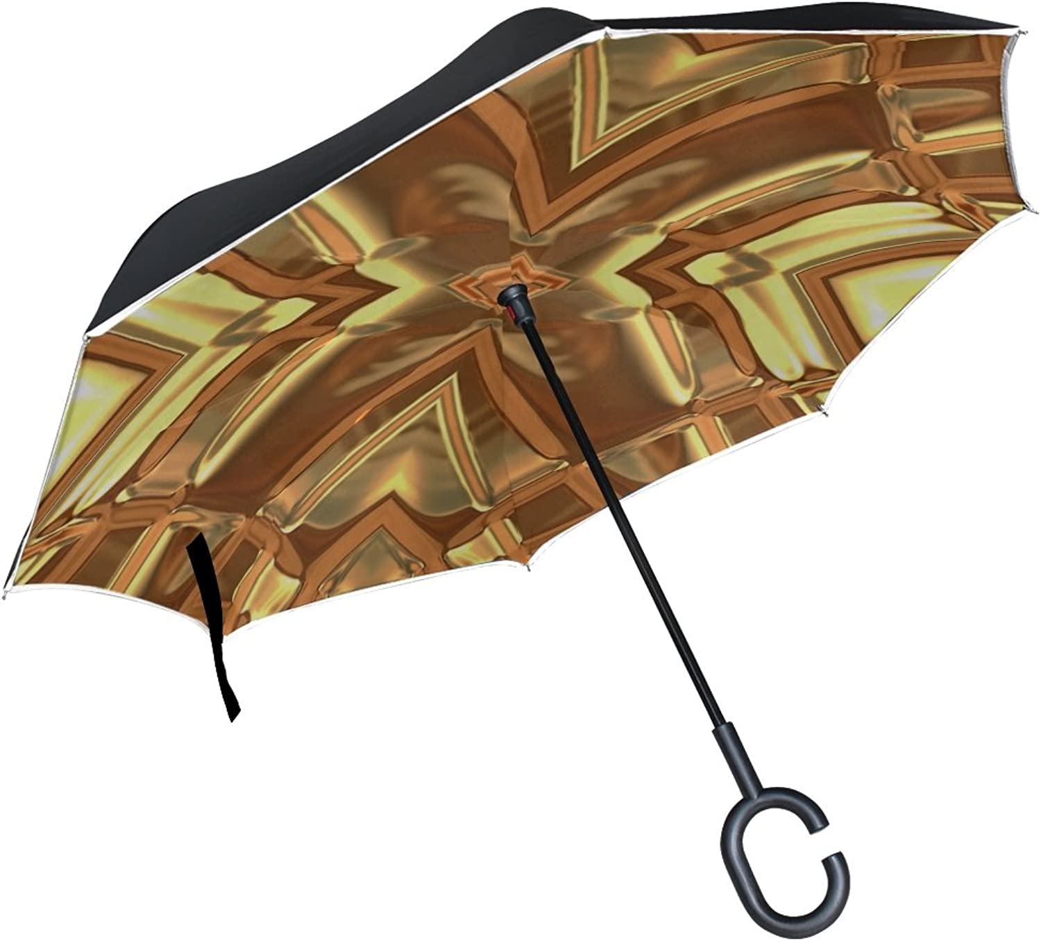 Double Layer Ingreened gold Abstract Texture golden Pattern Umbrellas Reverse Folding Umbrella Windproof Uv Predection Big Straight Umbrella for Car Rain Outdoor with CShaped Handle