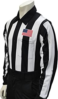 Smitty Men's Long Sleeve Football Referee Shirt with 2 1/4 inch Stripes & USA Flag