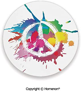 Famous Widely Used Peace Logo with Splash Grunge Style Anti war Pacifism Theme,Fashion Coasters For Drinks Absorbent Multi,3.9×0.2inches(4PCS),Prevent Furniture From Dirty Scratched