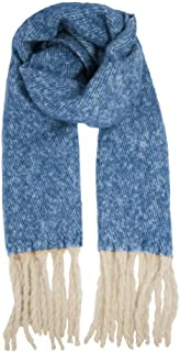 Herringbone Mohair Oversized Wrap Scarf, Blue And White Colour