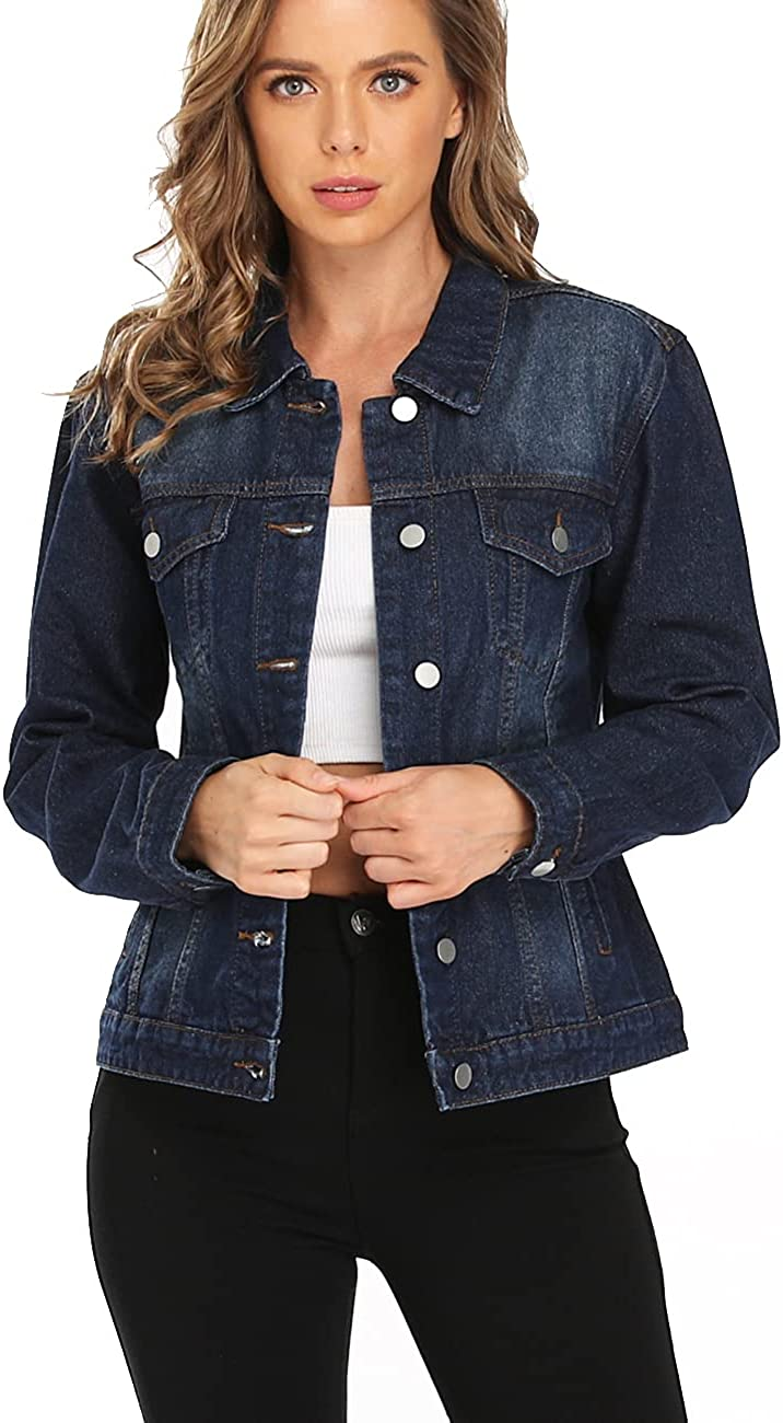 Dilgul Women's Denim Jackets Ripped Distressed Casual Long Sleeve Basic Button Down Jean Jacket with Pockets