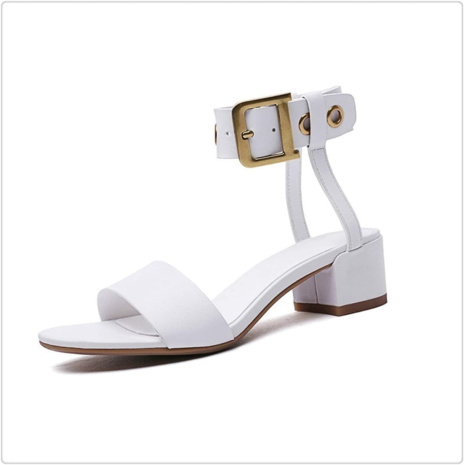 BIONGTY& 2019 New Spring Summer Round Toe Pu Leather Belt Buckle Strap Casual SimpleHigh Heels Sandals Women Fashion Tide 10SJ716 White 38