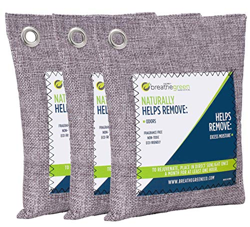 Breathe Green Bamboo Charcoal Odor Eliminator Bag (3 Bags), Activated Charcoal Odor Absorber, Natural Freshener Removes Odors and Moisture, Odor Eliminator for Home, Pets, Car, Closet, Basement, RV