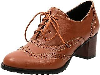 Femme Derbys Tête Ronde Chaussures Oxford Creux Chaussures à Lacets Sculpté Chaussures à Talons Mi Rétro 3 Couleur Unie Ch...