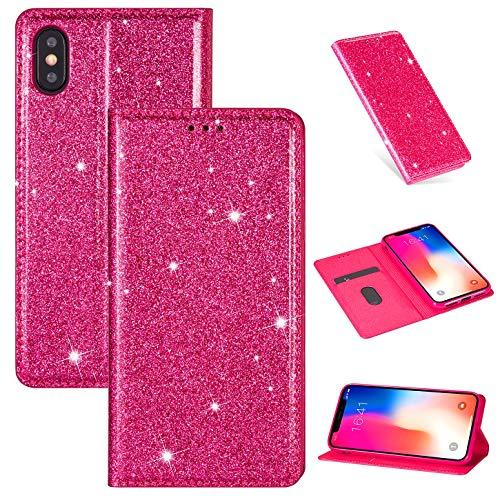 Hancda Hülle für iPhone X/iPhone XS, Handyhülle Flip Case Glitzer Bling Hülle Leder Tasche Schutzhülle Handytasche mit ein Kartenfach Klapphülle für iPhone X/iPhone XS,Rose Rot