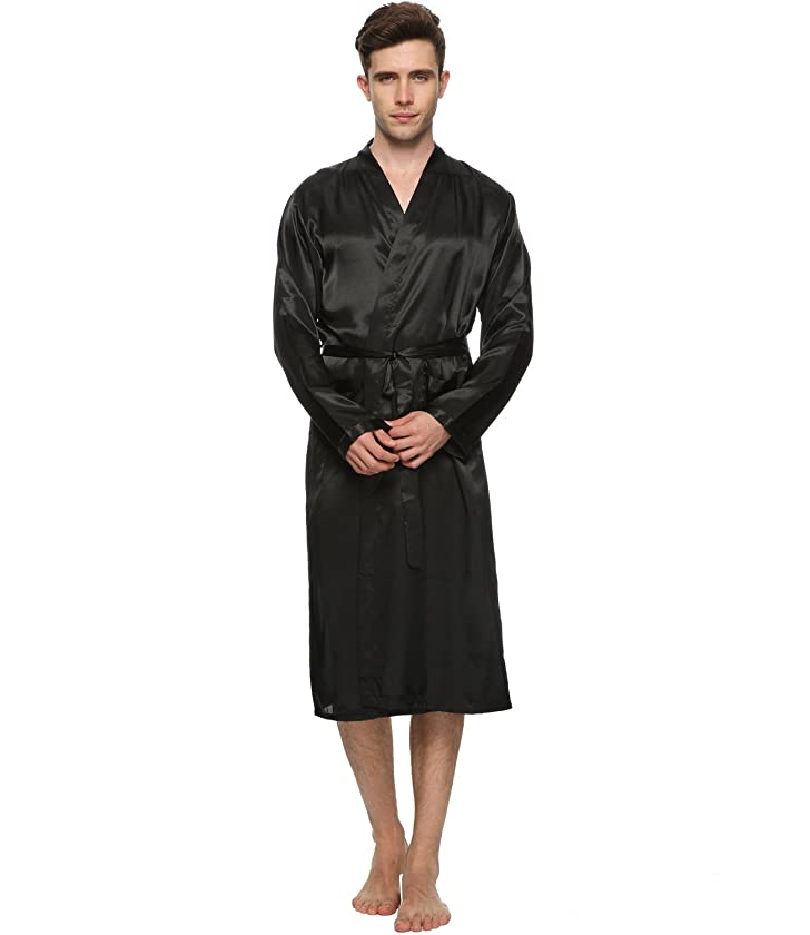 FAYBOX Men Satin Robe Long Bathrobe Lightweight Sleepwear