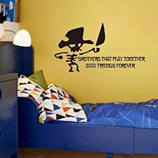 FlyWallD Walk The Plank Pirate Theme Wall Decal Vinyl Quotes Sticker for Kids Boys Room Nursery Cute Decor - Brother That Play Together Stay Friends Forever