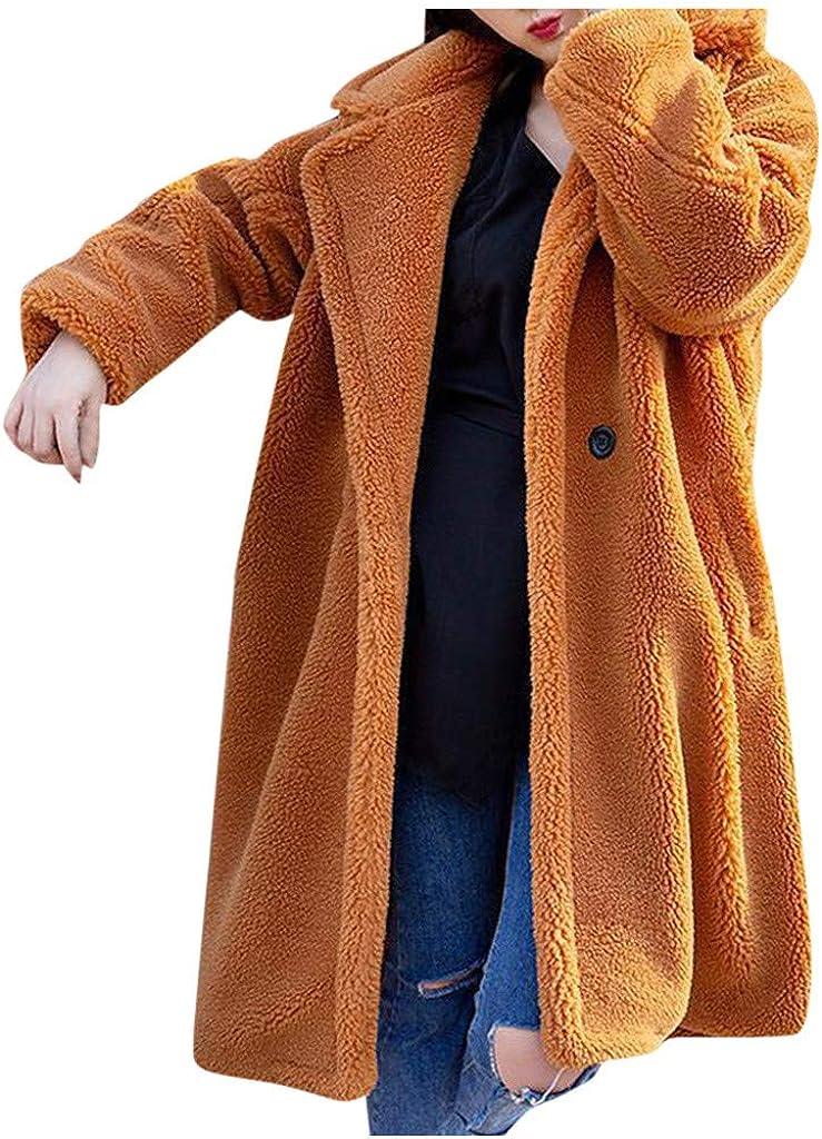 Brown Teddy Bear Jacket Women, NRUTUP Faux Fur Fleece Winter Longline Pea Coat Trench Full Length Casual Fuzzy Overcoat