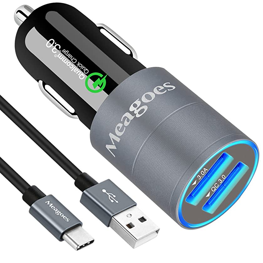 Meagoes Fast USB C Car Charger, Compatible for Samsung Galaxy S10 Plus/S10/S10e/S9 Plus/S9/S8+/S8, Note 9/8, HTC U12+/10/U11 Ultra, Quick Charge 3.0 USB Car Adapter, with 1-Pack USB Type C Cord Cable