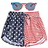 American Flag Shorts for Women Metallic Hot Pants 4th July Sparkly Rave Clothes