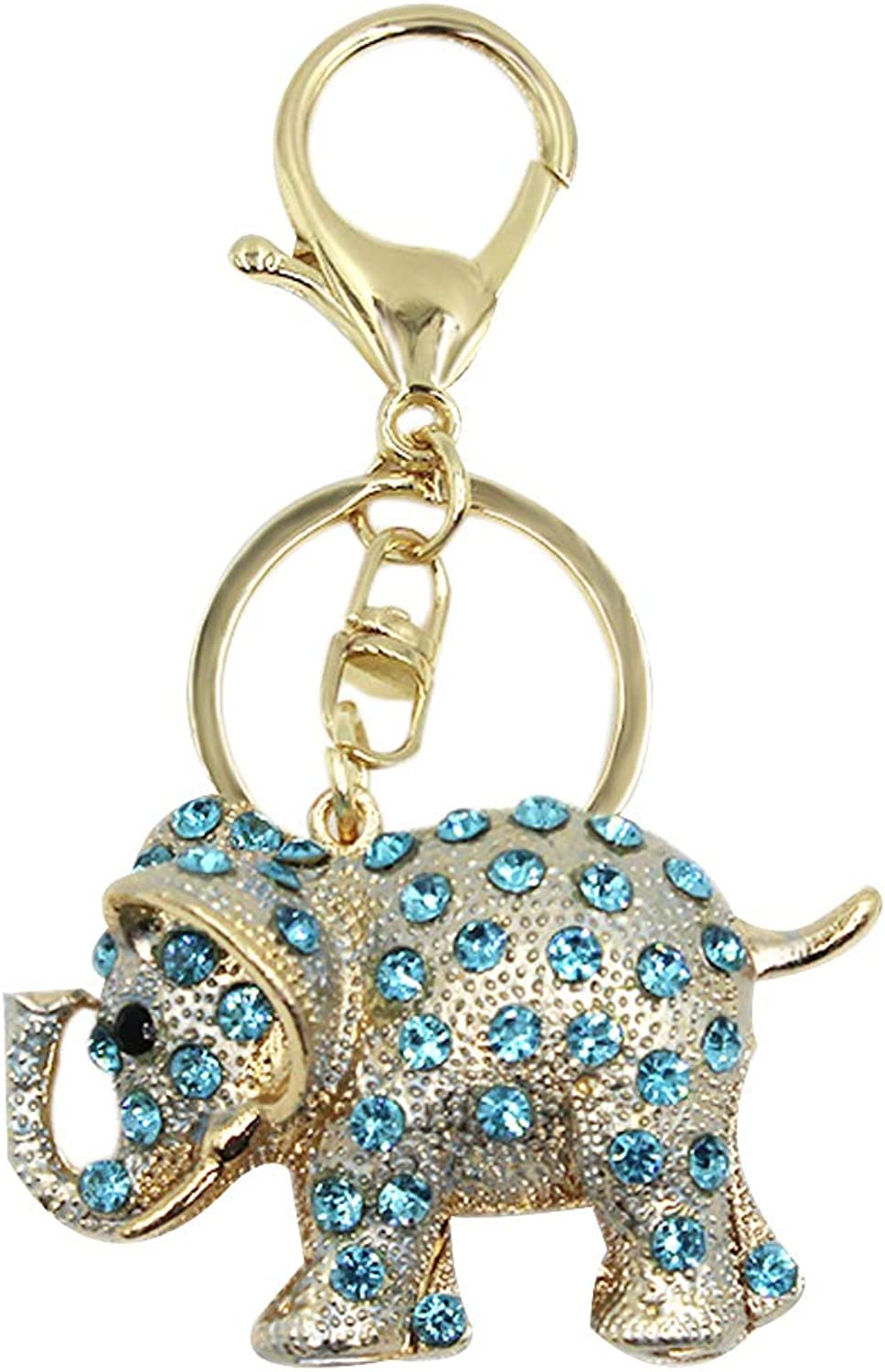 Aibearty Crystal Rhinestone Elephant Keychain gold Ring Bag Charm Pendent with Gift Bag