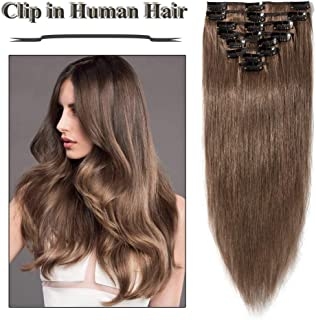 Clip in Hair Extensions Light Brown 14-24 inch Remy Human Hair for Women 8pcs 18 Clips Full Head Soft Straight Hair(16