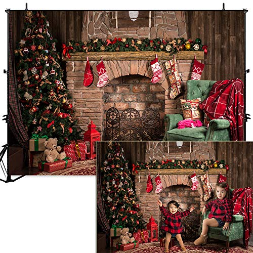 Dobeans 7x5ft Christmas Fireplace Backdrops for Photography Christmas Tree Gift Socks and Red Brick Fireplace Photo Background Kids Adult Family Party Xmas Photo Booth Studio Props