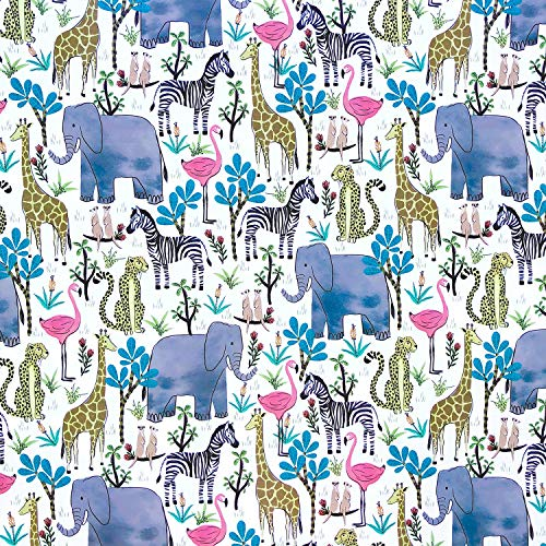 Jillson Roberts 5 feet x 30 inches Gift Wrap, Safari Animals