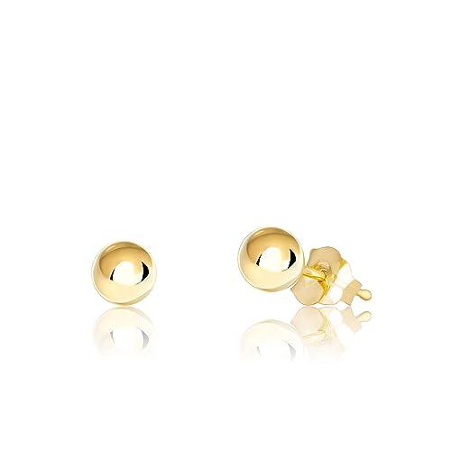 28466fbd6 Premium 14K Gold Ball Stud Earrings, 2mm - 10mm