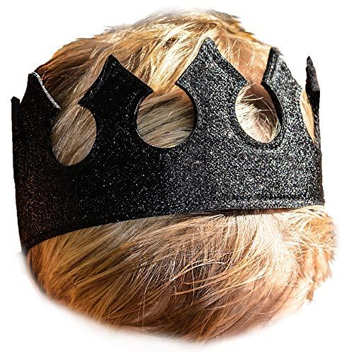 Jungen-Kostüm mit Krone in Mitternachtsschwarz, glitzernd, dehnbar, für Geburtstagsparty, Halloween-Kostüm