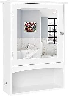 VASAGLE Mirror Cabinet, Bathroom Wall Storage Cabinet with Adjustable Shelf, Medicine Cabinet, Wooden, White, 18.9 x 6.3 x 25.6 Inches UBBC21WT