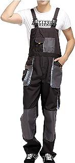 Cicilin Men's Dungarees & Coveralls Protective Safety Trousers Mechanics Boiler Suit Black