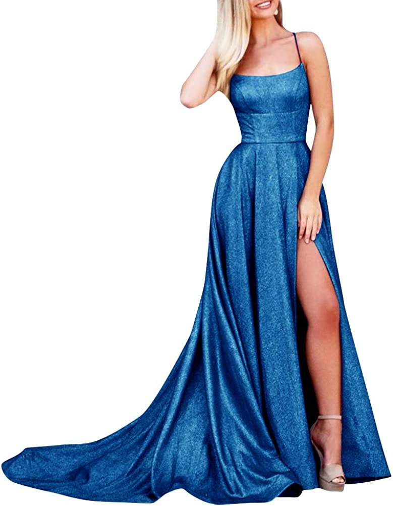 supreme ALFEICE discount Sparkling Prom Dress Long Scoop Spaghetti Slit Stra High