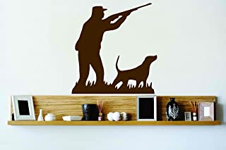 Design with Vinyl Cryst 109 37 Brown Man Hunting With Shot Gun and Wild Dog Animals Vinyl Wall Decal Art Home Decor Bedroo...