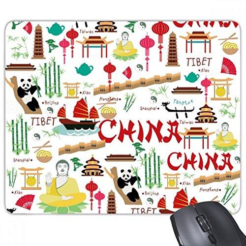 China Bamboe Lantaarn Fan Panda Budda de Grote Muur Schip Boom Rechthoek Antislip Rubber Mousepad Game muismat Gift