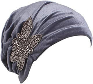 YiYi Operation Women's Stretch Velvet Turban Hat Cancer Chemo Beanie Beaded Flower Hair Wrap Cap Headwear
