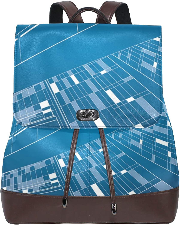 DEZIRO Leather Look Up City Night School Pack Backpacks Travel Bag