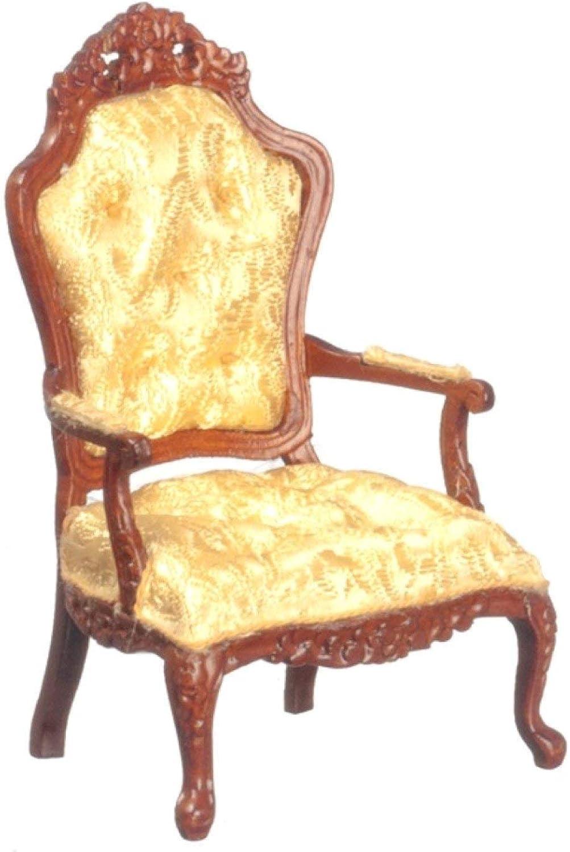 Melody Jane Dollshouse Fine Miniature Living Room Rococo Walnut gold Armchair