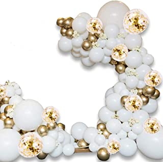 """Balloon Arch Kit - 120 PCS 16Ft Latex Balloon Garland Kit with 18"""" 12"""" 10"""" Gold and Whtie Balloons Confetti Balloons and M..."""