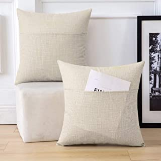 MIULEE Pack of 2 Decorative Farmhouse Throw Pillow Covers Burlap Linen Pillowcases with Pocket Modern Cushion Case for Couch Sofa Bedroom, 18 x 18 Inch, Beige