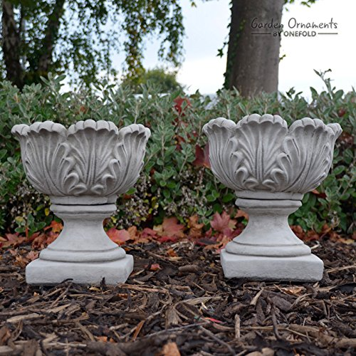 ONEFOLD - Pair of Tulip Vases Hand Cast Stone Flower Planters Small Garden Ornament Urn Vase Planter Pot