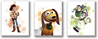 """HB-101 Modern Minimalist Watercolor Graffiti Splash Toy Story Art Painting Set of 3 (8""""X10""""Canvas Picture) Used for Nurser..."""