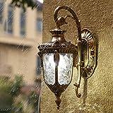 FYH Vintage Lanterna Antica Parete Esterna con Paralume in Vetro Trasparente - in Stile Vittoriano Lampada da Parete Lampada da Parete del Giardino,Gold-L