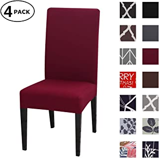 Dining Chair Cover Seat Protector Super Fit Slipcover Stretch Removable Washable Soft Spandex Fabric for Home Hotel Dining Room Ceremony Banquet Wedding Party Restaurant (Color 9, 4 Per Set)