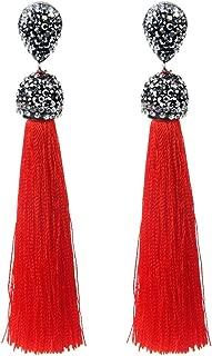 Handmade 12 Colors Long Tassel Earrings Bohemian Black Red Pink White Blue Silk Crystal Dangle Drop Earrings for Women Jewelry