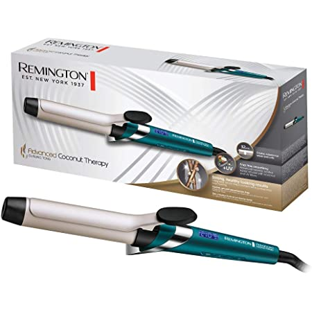 Remington Advanced Coconut Therapy - Rizador de pelo, Barril de 32 mm con pinza, Cerámica, Digital, Hasta 210 °C, Azul, CI8648